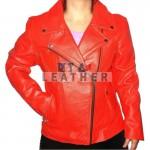 Ladies Red motorbike jacket,  Red ladies jacket,  Red motorcycle jacket,  women leather jacket