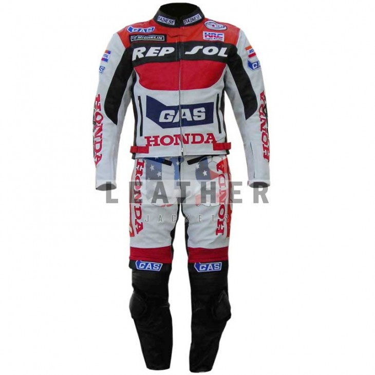 racer leather suits, Honda Repsol Gas suit,  Repsol Gas leather suit,  motorbike leather suits,  sportbike leather suits,  full leather bike suit,  bike racing suit leather