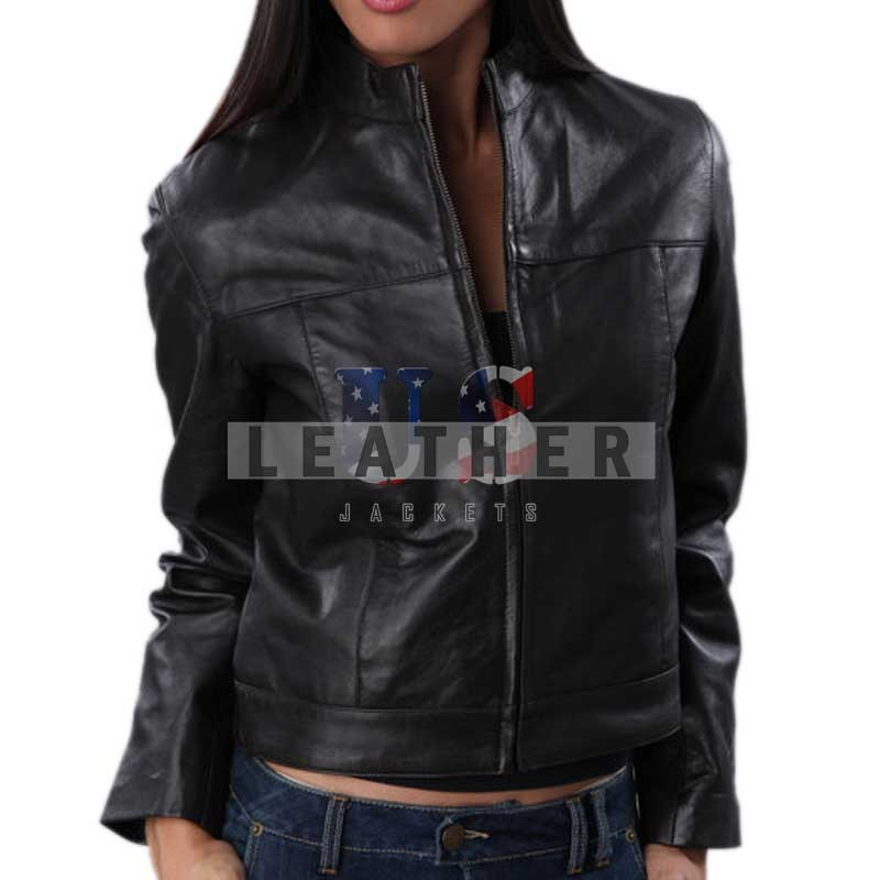 Classical Plain Styled Women Leather Jacket | Handmade Leather ...