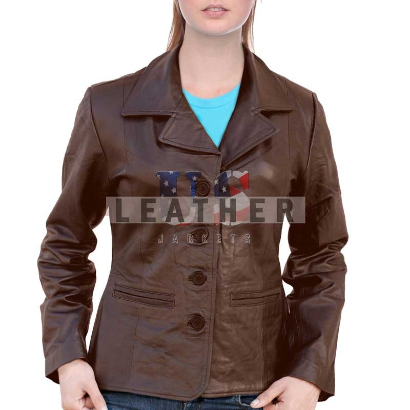 Classic Brown Hand stitched Ladies Fashion Jacket