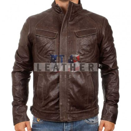 Shark Brown Washed Leather Jacket for Men