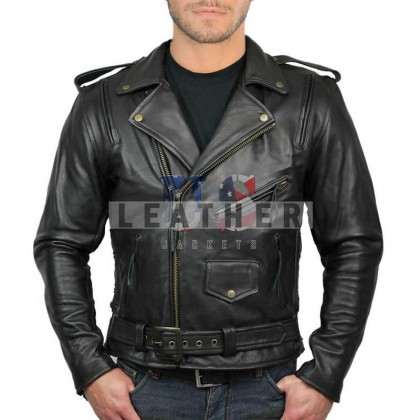 Black Brando Ghost Rider Naked Leather Jacket