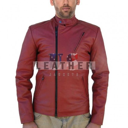 Ironman Red Movie Men custom Leather Jacket