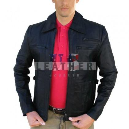 Slider Black Fashion Men Leather Jacket