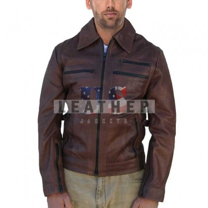 Slider Brown Fashion Men Leather Jacket