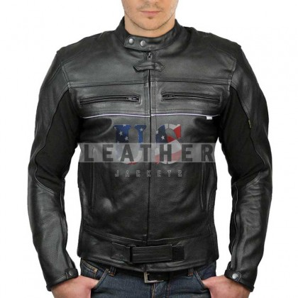 Black Brando Night Reflection Naked Leather Jacket