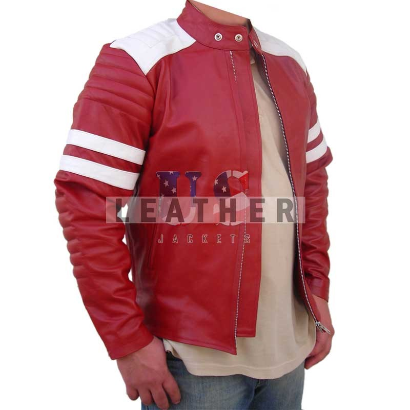 Brad Pitt Fight Club Leather Jacket,  Movies replica leather jacket,  replica jacket,  movies jacket, replica movie jackets,  replica movie costumes,  leather jackets movies
