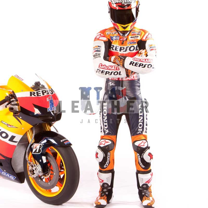 usleatherjackets.com,  Josh Hayes Monster Yamaha SBK suit,  Dani Pedrosar repsol Gas Team suit 2012,  motorcycle Men Leather Suit,  motorbike motogp leather suit jackets