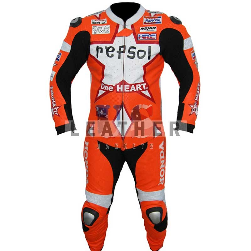 racer leather jackets, Dani Pedrosa suit,  casey stoner racing suit,  Dani Pedrosa Repsol leather suit,  Motogp aragon track racing suit 2011,  SBK Motogp replica suit,  WSBK Honda Repsol suit,  motogp suit sale