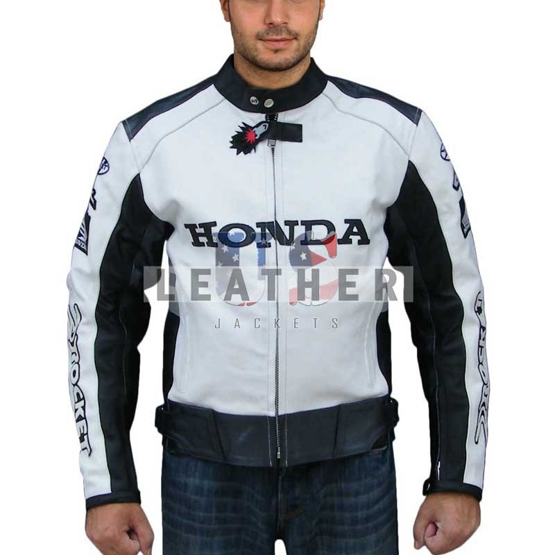 racer leather jacket, honda rocket leather jacket,  honda motorcycle jacket,
