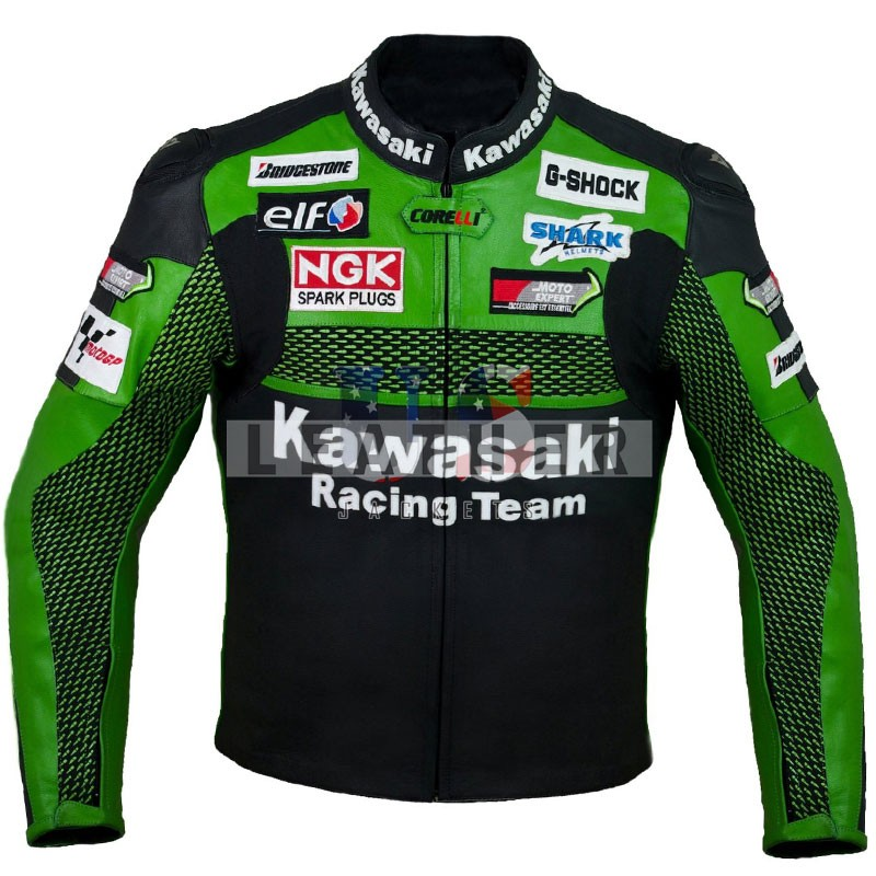 racer leather jackets, Kawasaki leather jacket,  Kawasaki leather ,  leather jackets,  men leather jackets,  genuine leather jacket,  bike leather jacket