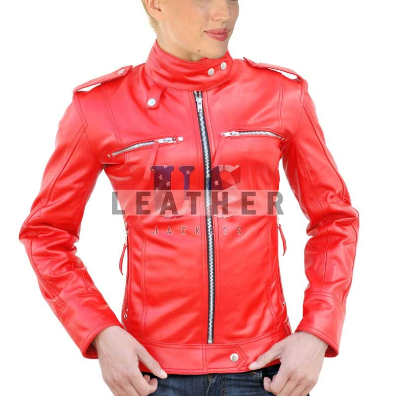 Ladies Red Smart Leather Jacket, latest stylish leather jacket, stylish leather jacket online, stylish leather jacket sale, fashion leather jackets 2014, custom ladies leather jacket