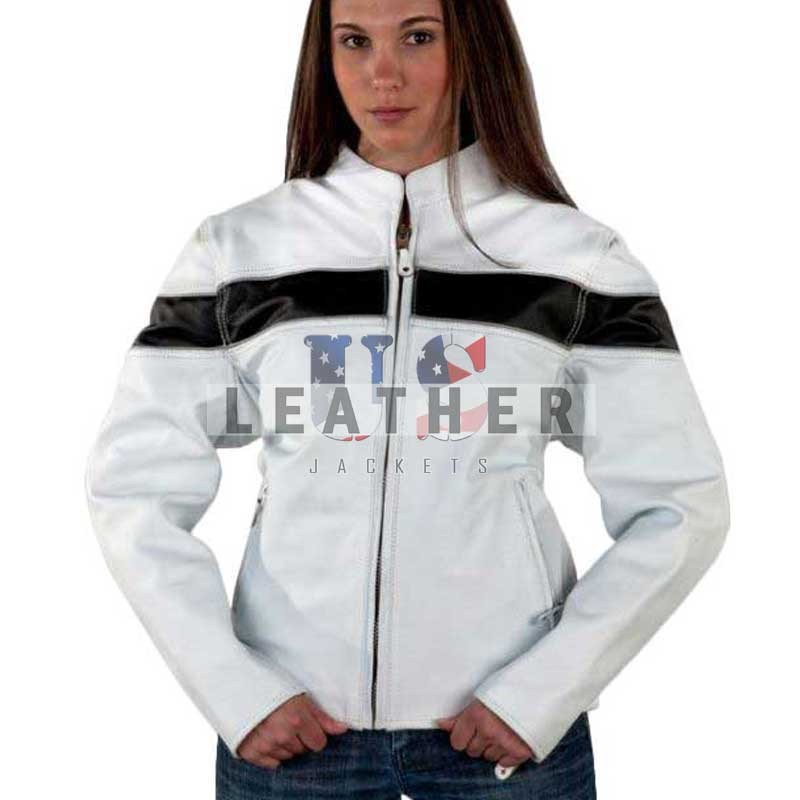 White Ladies Fashion Leather Jacket, ladies leather jackets, women leather jackets uk, black leather jackets, leather jackets for ladies