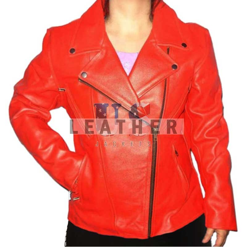 Ladies Red motorbike jacket,  Red ladies jacket,  Red motorcycle jacket,  women leather jacket