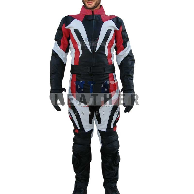 usleatherjackets, red and white leather suit, motorcycle leather suit, biker leather suit, track suit