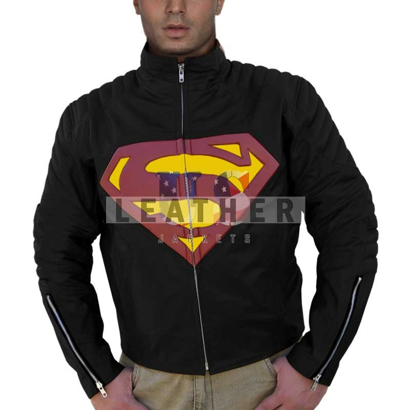 fashion leather jackets, men of steel replica jacket, Superman Smallville Clark Kent black Leather Jacket,  movie replica jackets,  replica movie jackets,  film jackets,  movie jackets