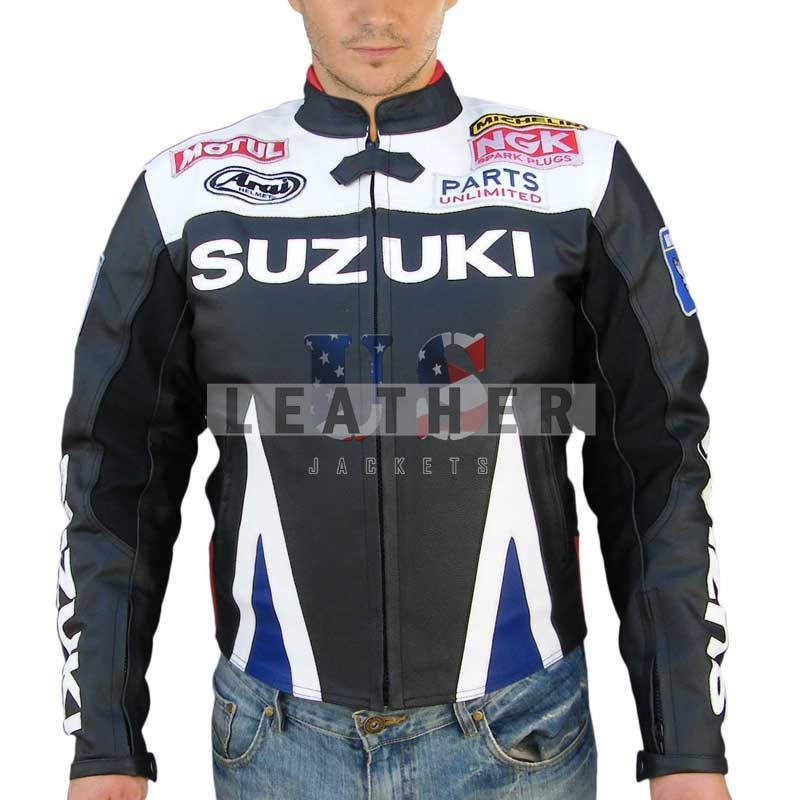 racer leather jacket, suzuki leather jacket,  suzuki motorcycle jacket,  suzuki motorbike leather jacket,  suzuki motorcycle jacket