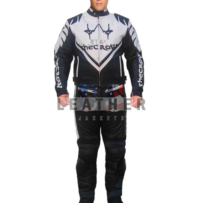 The Crow Motorcycle Racing Suit, motorbike leather suit,  leather suit ,  faux leather suit,  black white leather suit,  track leather suit,  small leather suit,