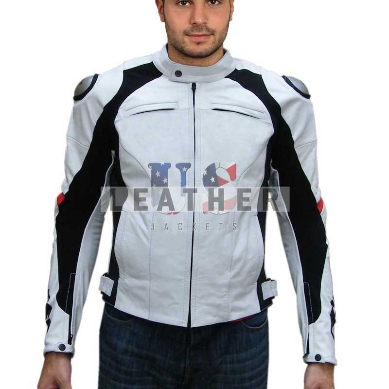 White Motorcycle jacket, motorcycle leather jacket for sale, Custom Leather jacket, Racing Leather jacket, Leather Race jacket