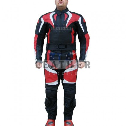 Flame Hump 2Pcs Racing Motorcycle Leather Suit