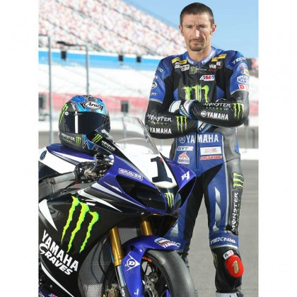 Josh Hayes Monster Yamaha SBK Motorcycle Leather Suit