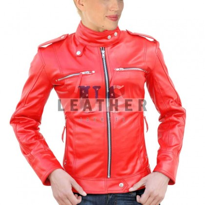 Ladies Red Smart Custom Leather Jacket