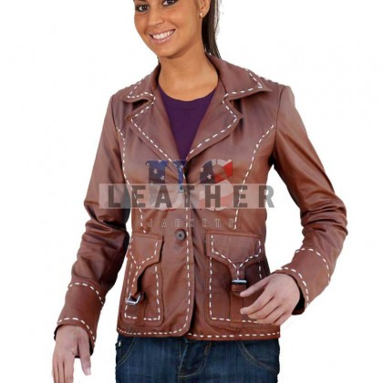 Casual Custom Fashion Brown Leather Jacket
