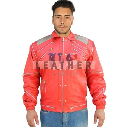 Michael Jackson Beat it Red Custom Leather Jacket