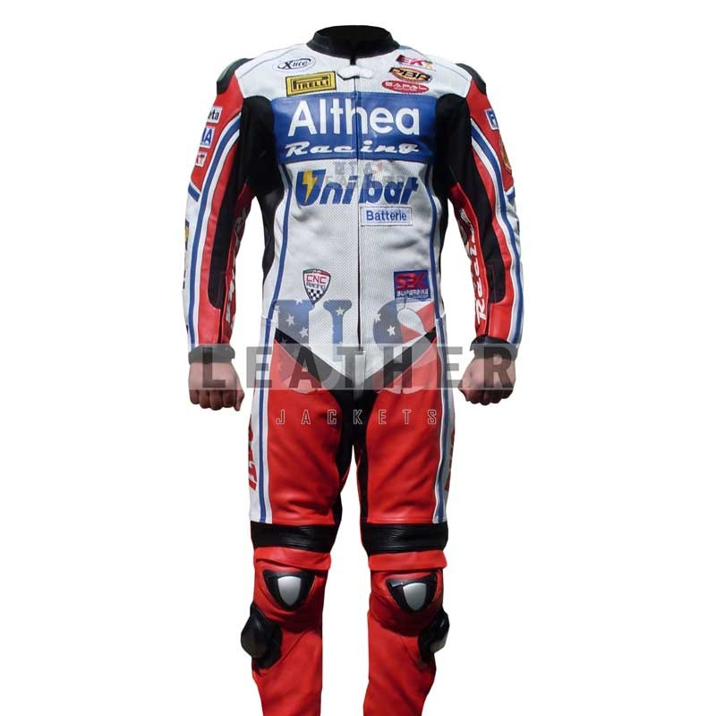 usleatherjackets.com,  Carlos Checa leather suit,  Carlos Checa Team  Althea Unibat 2011,  motorcycle Men Leather Suit,  motorbike SBK leather jackets