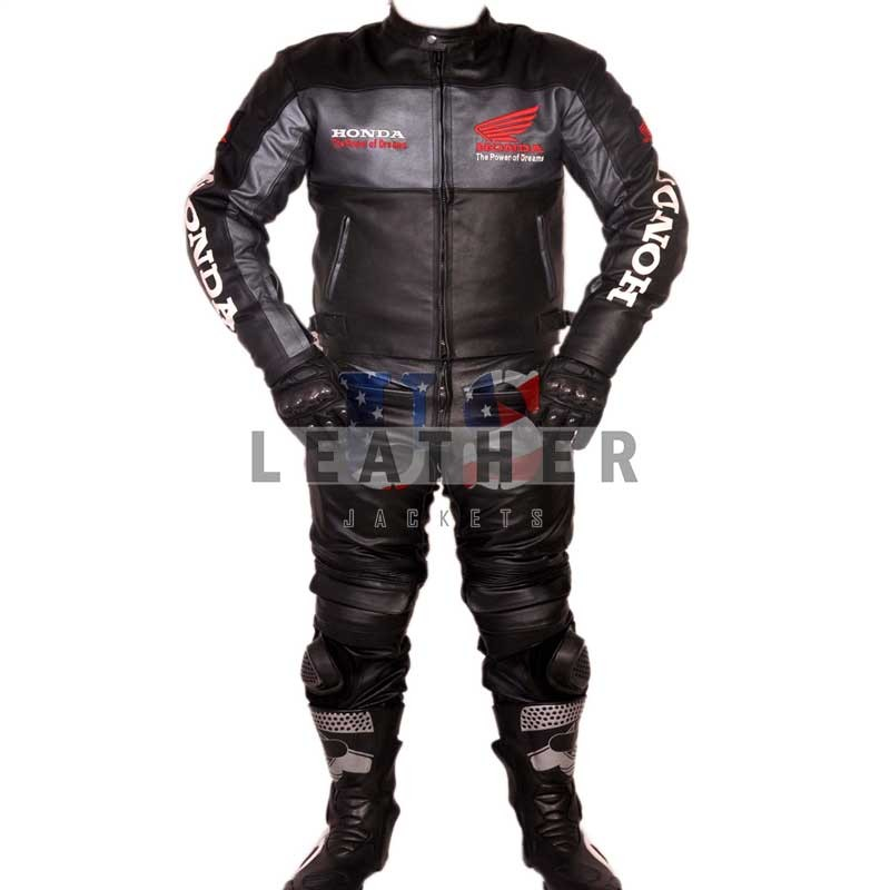 racer leather suits, Honda biker style leather suit,  men leather suit,  black leather suit