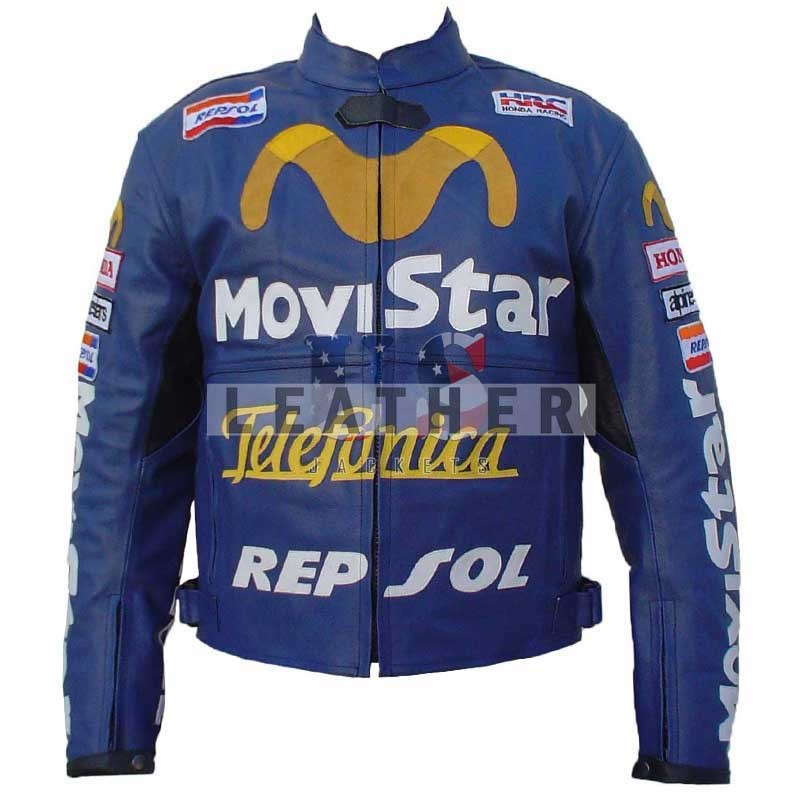 racer leather jackets, Movistar Repsol Bike Stylish Leather Jacket,  Movistar biker jacket,  Movistar Repsol leather jacket
