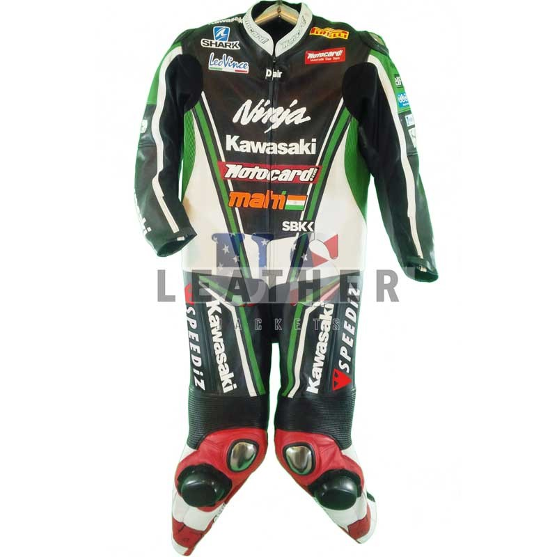 Kawasaki Ninja Motorcycle Leather Racing Suit,  Kawasaki Ninja leather suit,  Tom Sykes suit,  Tom Sykes racing suit,  Tom Sykes Kawasaki Ninja leather suit,  Motogp racing suit 2012
