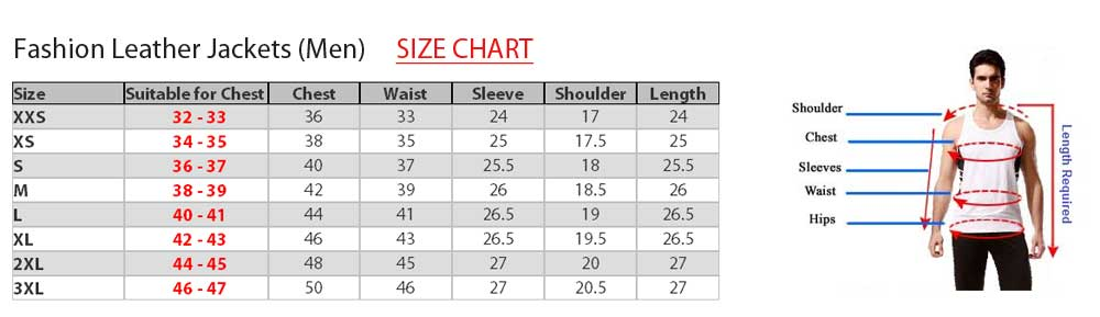 Size charts for leather garments