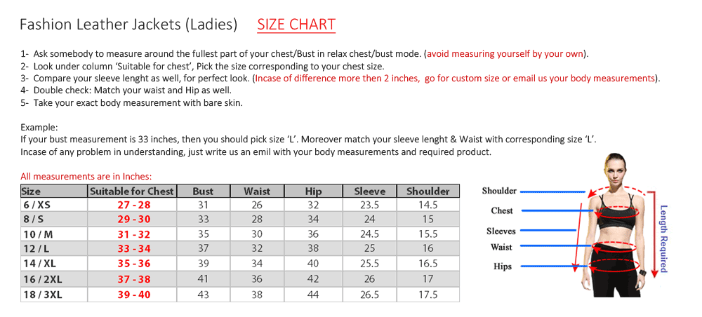 ladies fashion jackets size chart